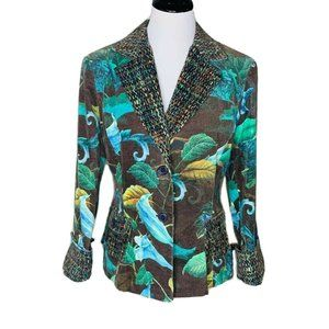Andre Oliver Womens Blazer Brown Blue Green Floral